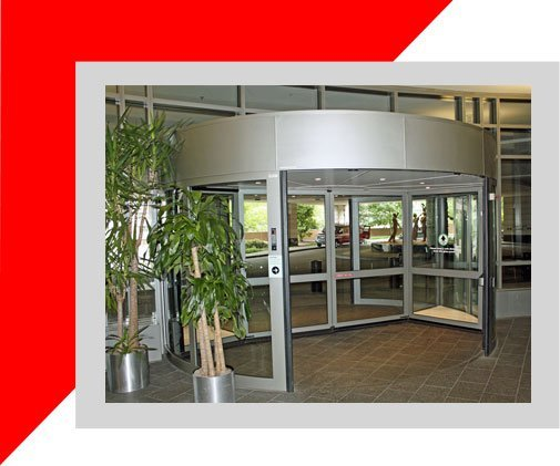 Two wing automatic revolving door installation