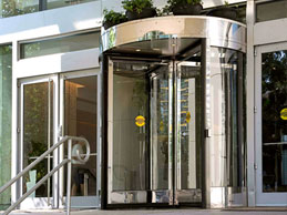 Automatic 4-Wing Revolving Door on the exterior of a building